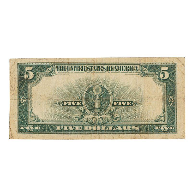 last large size 5 dollar silver certificate SPT b Note