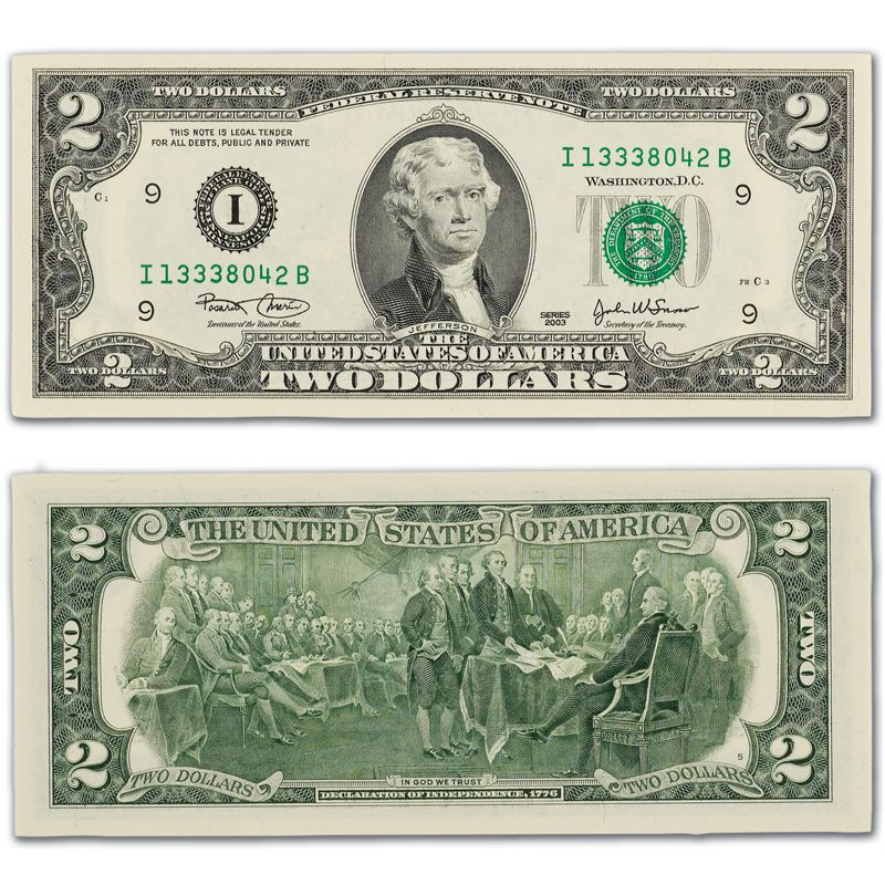 The Complete Set of Small Size Two Dollar Bills C2N 2