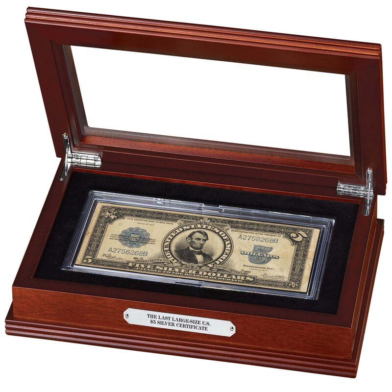 last large size 5 dollar silver certificate SPT g Display