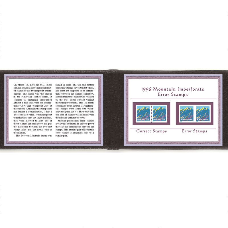 1996 MOUNTAIN IMPERFORATE ERROR STAMPS MTN 2