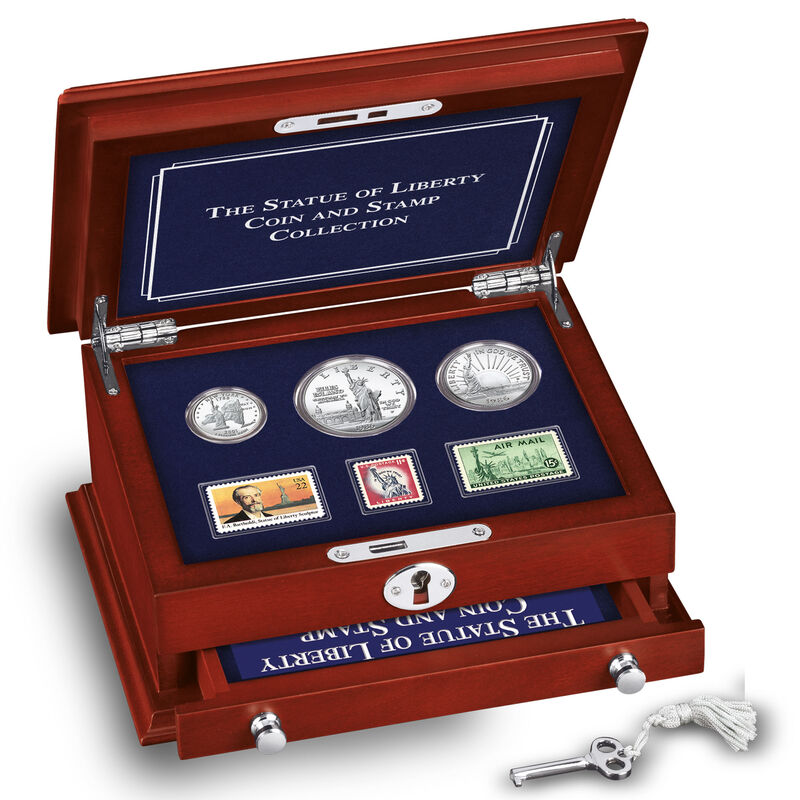 statue of liberty coin and stamp collection SCD c Chest