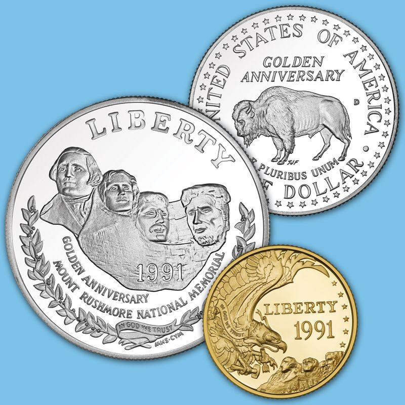 The Complete Set of Mount Rushmore Commemorative Coins MTR 3