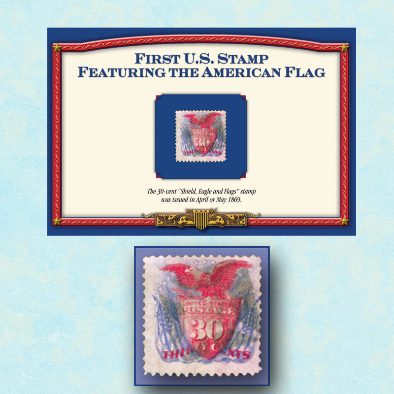 First US Stamp Featuring the American Flag FFS 1