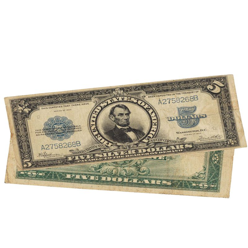 last large size 5 dollar silver certificate SPT a Main