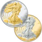 Platinum and Gold Highlighted American Eagle Silver Dollars PGE 1