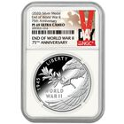 end world war ii 75th anniversary proof silver medal W2F a Main