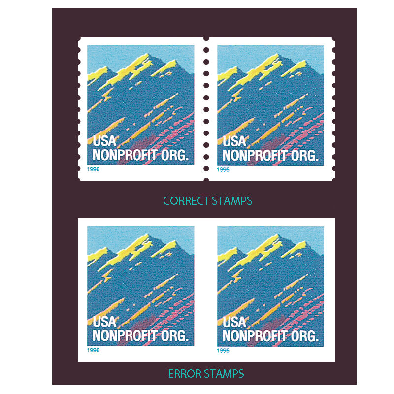 1996 MOUNTAIN IMPERFORATE ERROR STAMPS MTN 1