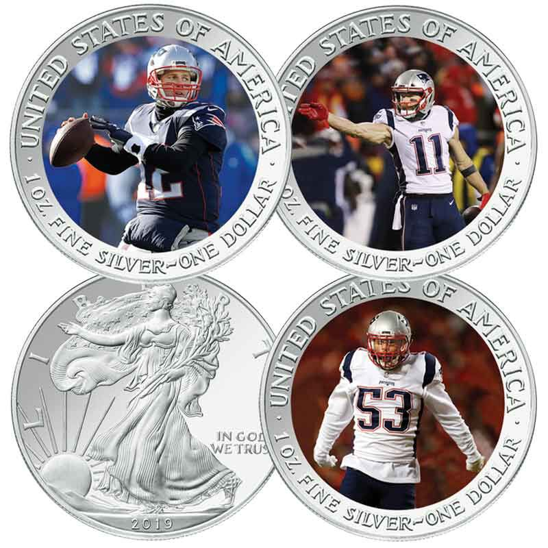 925 Sterling Silver Yellow Gold-Plated Official Sterling S New England Patriots Super Bowl LIII Champions Large Pendant Charm