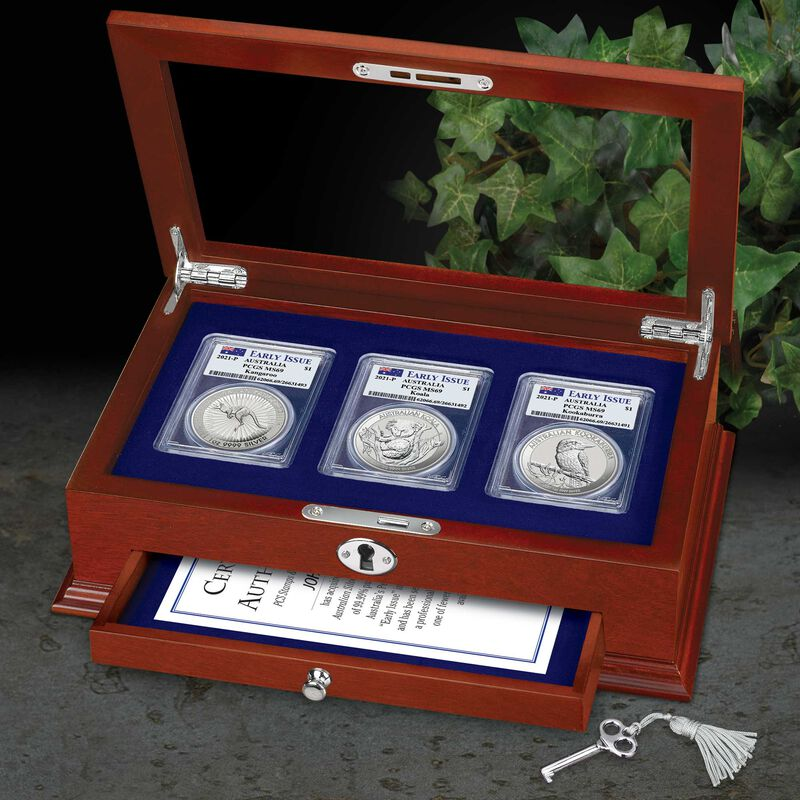 2021 early issue australian silver dollar set A21 g Display