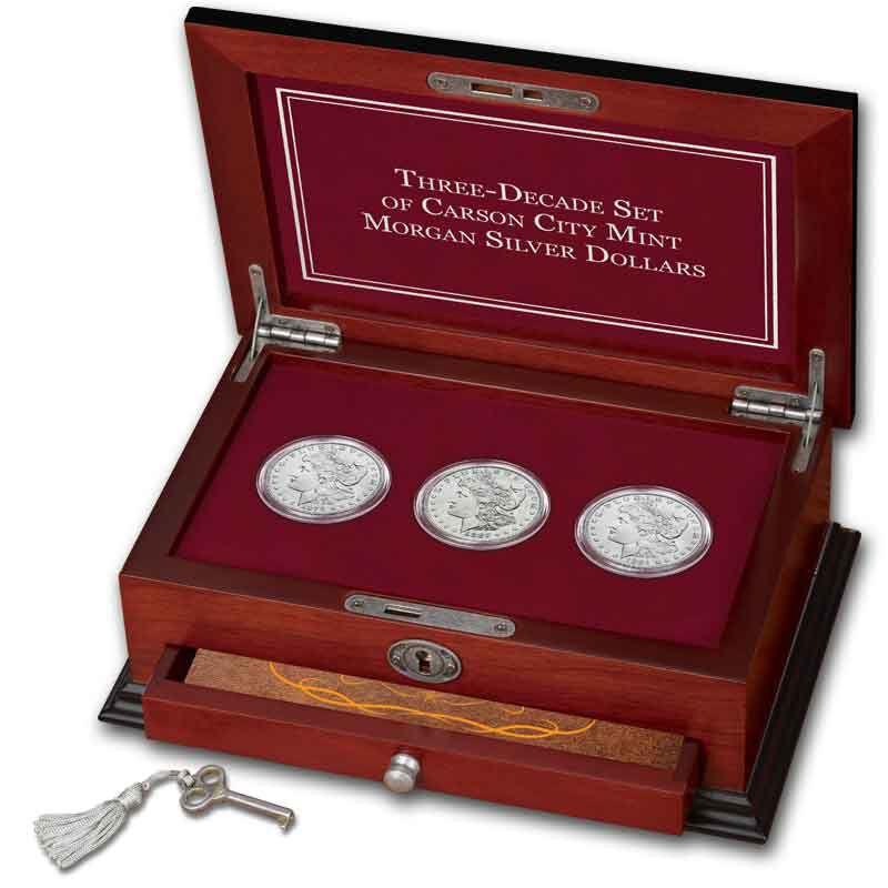 Three Decade Set of Carson City Mint Morgan Silver Dollars MCD 3