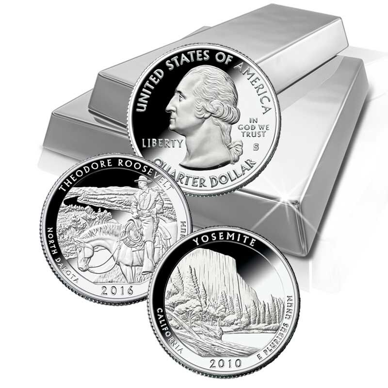 The Complete US National Parks State Quarters Silver Proof Set Collection ASP 1