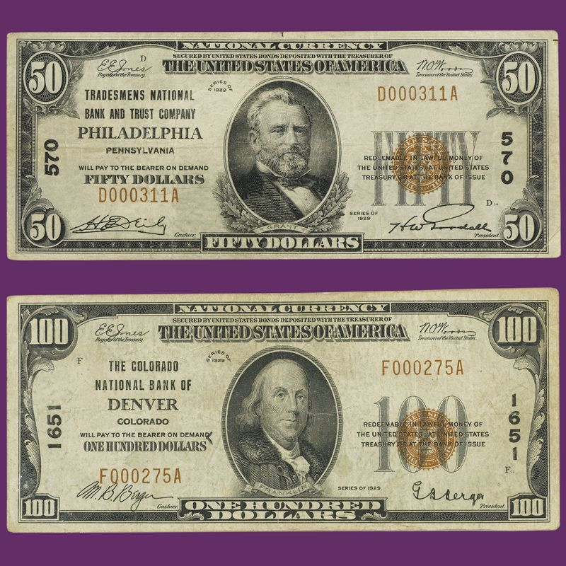 The Complete Denomination Set of 1929 National Bank Notes NBL 1